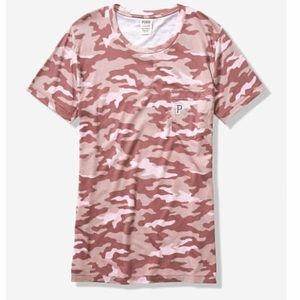 NEW VS PINK camouflage campus tee